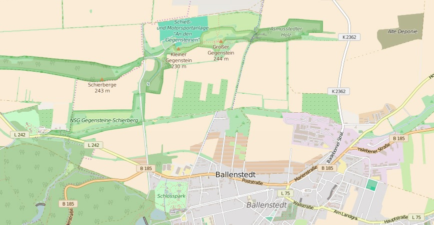 Die Gegensteine bei Ballenstedt. (Karte erstellt aus OpenStreetMap)
