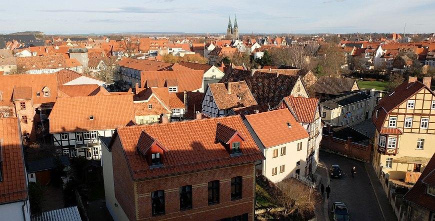 Blick vom Schlossgarten auf Quedlinburg