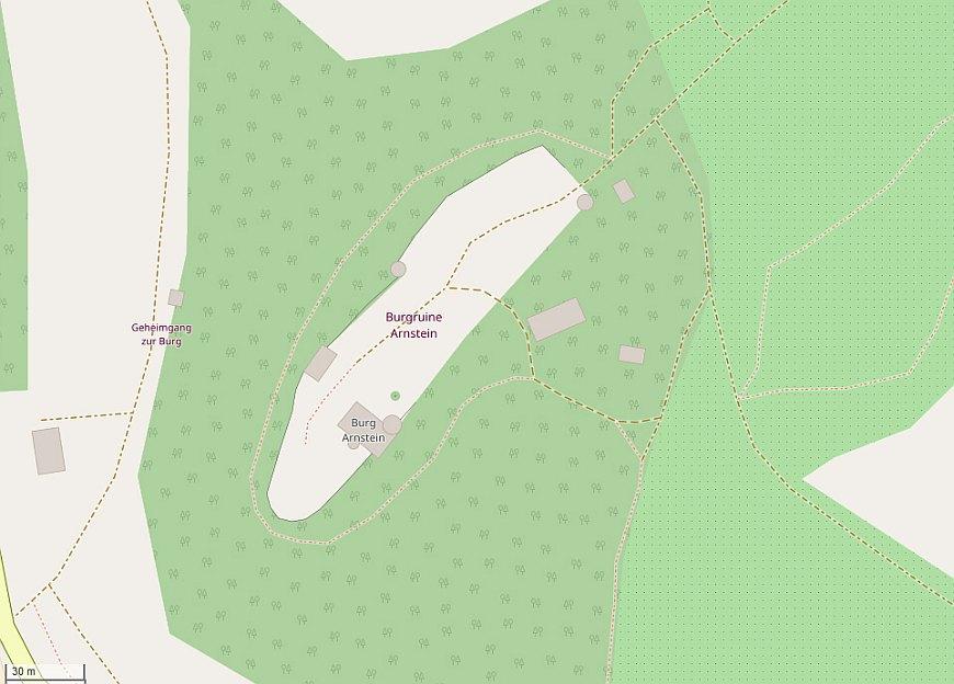 Plan der Burg Arnstein (Erstellt aus OpenStreetMap.org)