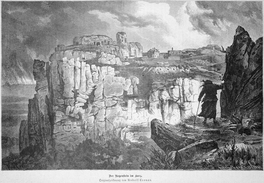 Der Regenstein im Harz. Originalzeichnung von Rudolf Cronau.