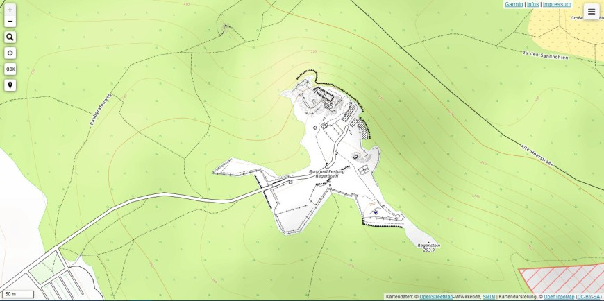 Screenshot OpenTopoMap - Topografie