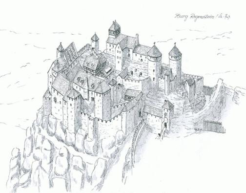Rekonstruktionszeichnung der Burg Regenstein (W.Braun)