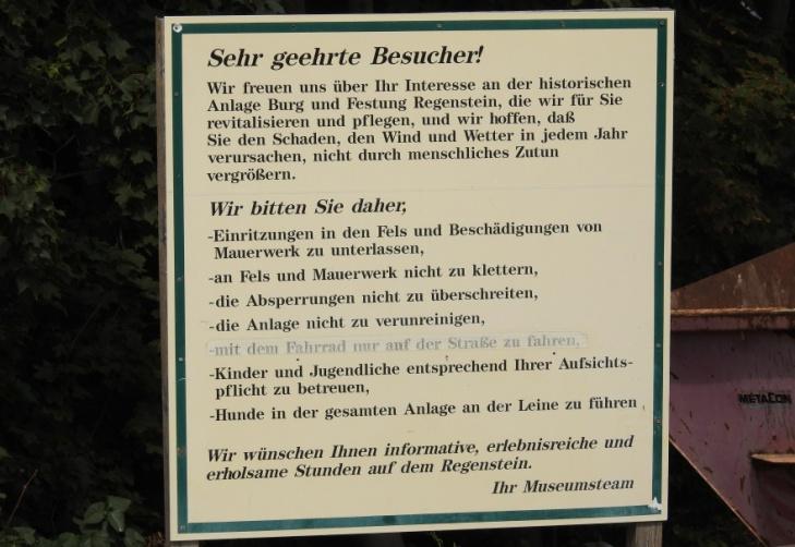 Burg Regenstein - Hinweise für Besucher (Foto: Juli 2018)