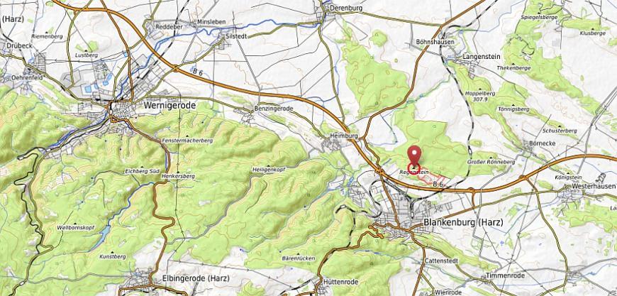 Der Regenstein bei Blankenburg im Harz (Karte erstellt aus opentopomap.org.)