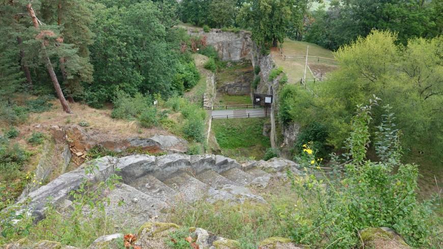 Festung Regenstein - Schützentreppe oberhalb des Torgrabens (Foto: 08/2020)